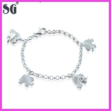 Factory Direct Sale Sterling Silver Jewelry Fashion Elephant Dangling Charms Bracelet