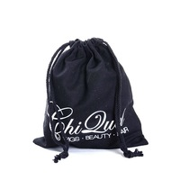 custom printing black cotton drawstring bags