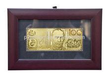 best gift of 24k gold foil banknote with wooden frame no color