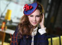 Womens Winter Hair Fascinators Blue/Red Wool Felt Fascinators