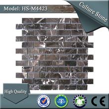 HS-M4423 interior stone quartz black marble mosaic arts