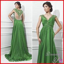 Amazing V-neck Sheer Back Cap Sleeve Beaded Chiffon Emerald Green Evening Dress