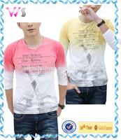 Korea New stylish casual dip dyeing mens 3/4 sleeve t shirt