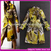 Alibaba china high end lady winter long print belted dust coat keep warm