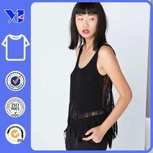 Popular blank private label black summer cotton tassel woman t-shirt