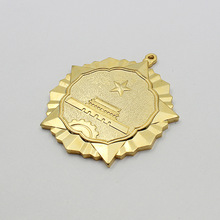 souvenir metal award medal ribbon with gold silver copper plated
