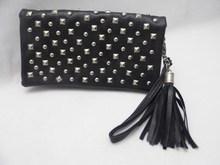 rivet tassel wallet & pu lady wallet case factory price & special pattern lady wallet