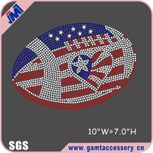Football shape USA flag rhinestone transfer iron ons design, football rhinestone transfer