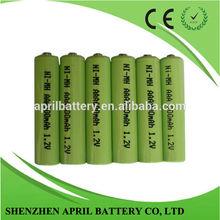 Ni-mh AAA Size Rechargeable battery 1.2V 300mAh-1000mAh