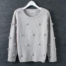MS61469W knitted crochet autumn winter ball top pattern latest women sweater