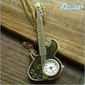 guitar pingente colar relógio para atacado