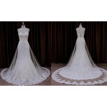 New design opulent brush train tulle appliqued little bride dresses