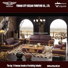 Luxury modern living room furniture wooden frame full leather sofa S-732