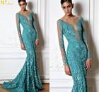 NI-526 Sheer Neck Heavy Applique Fishtail Long Sleeve Evening Gowns Zuhair Murad