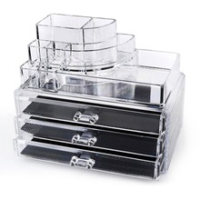 Clear acrylic makeup organizer cosmetic organizer and Large 3 Drawer Jewerly Chest or makeup storage ideas Case Lipstick Liner B