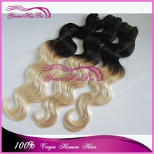 Alibaba China Hot selling 100% human hair sew in weave body wave ombre blonde brazillian remy hair extensions