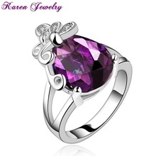 Fashion Big Amethyst Purple Zircon Crystal Ring Party Exaggerated Wedding Rings for Women Platinum Plated Gold Ring
