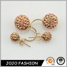 Diamond crystal rhinestone fashion earring double ball