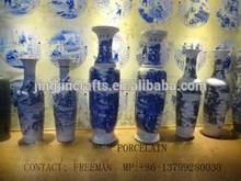 blue and white ceramic flower vase hand painted, decorative ceramic flower vase for home and restaurant