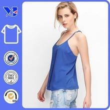 European style sleeveless cut and sew t-shirt custom