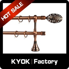 KYOK New Design metal curtain pole wholesale ,extendable curtain pole ,AC double curtain rod