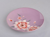 Round rose design ceramic salad plate with hand painting/hot new products for 2015