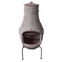 Classic wood burning clay chiminea stands
