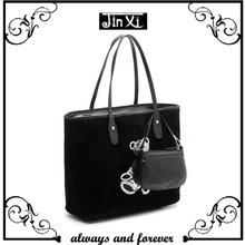 Fashion suede leather handbag tote bag with extra cosmetic bag