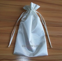 fabric satin gift bag with customized design for promotion