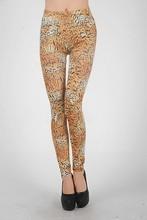New Brown Womens Tiger Stripes Printed Cool Leggings