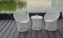 Very popular green product synthetic PE rattan patio coffee set outdoor furniture