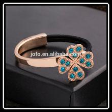 Handmade Fashion Gold Clover Flower Jewellery Expandable Bangles XPJ0055