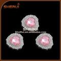 cristal rose en forme de coeur acrylique bouton strass acrylique bouton