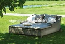 2014 Cane Wicker Furniture Outdoor Aluminium Double Lounger Sofa Bed