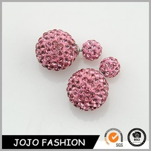Diamond double balls earrings shamballa earrings crystal stud earrings wholesale