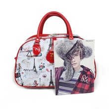 China manufacture fashional female leather dufffel travel bag
