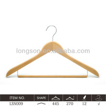 Best selling curve series natural Wooden dress Hanger W/ notches &bar LSN009