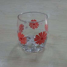 LYT515 beautiful flower design drinking glass soda lime material 225ml wholesale wine glasses