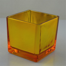 gold cube mirror glass tea light holder chinese christmas decorations