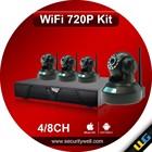 Wifi IP camera with NVR kit, with 4PCS 720P Wireless Pan Tilt Robot cameras