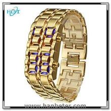 2015 Newest Colorful Iron Samurai Watch Cheap Lava LED Gold Watch Women