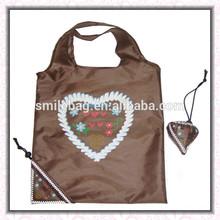 AZO free 190T PU polyester /nylon reusable foldable shopping bag