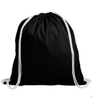 Black Cotton Drawstring Bag