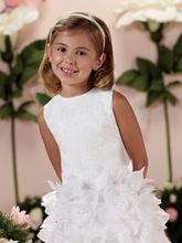 Ball gown scoop Knee length handmade flower appliqued sleeveless white baby party frocks