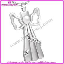 IJD8200 wholesale steel jewelry cremation angel with cz stones memorial necklace
