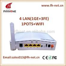 EPON ONT 4 LAN + 1 POTS + USB+WIFI, optical network terminal GEPON ONU