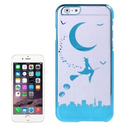 Hot Sale Magician and Moon Pattern Electroplated Frame Transparent Plastic Cover Case for iPhone 6 Plus