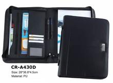 NEW DESIGN A4 A5 PU LEATHER PADFOLIO FOLDER PORTFOLIO FOLDER FOR OFFICE WITH ZIPPER CALCULATOR AND CARD POCKET