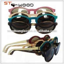 Bulk buy logo lens metal bridge bamboo wood sun glasses handmade