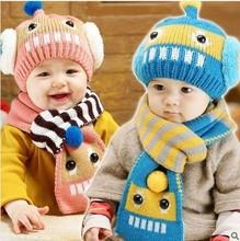 winter hat cap touca robot warm winter two-piece set of head scarves shape of wool hats caps scarf cap&scarf sets conjuntos